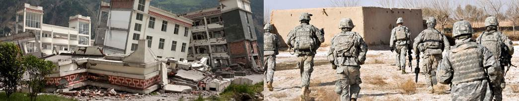 earth quake and soldiers